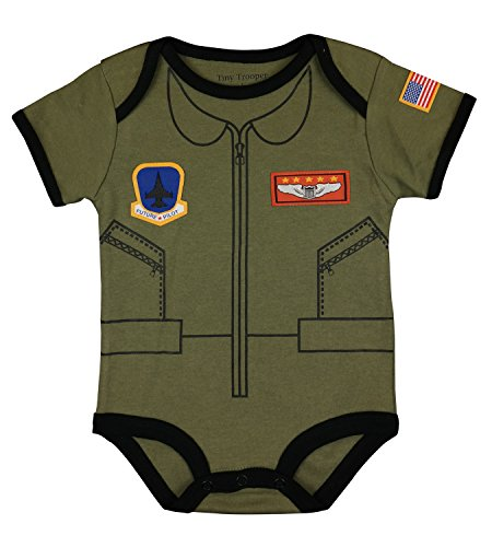 Trendy Apparel Shop Flight Body Suit Future Pilot USA Flag Infant Onesie - Olive - 9-12 - Pilot Usa