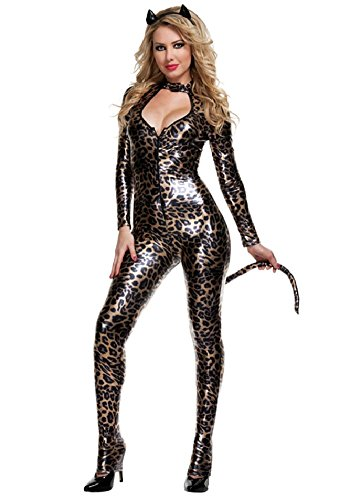 [SPJ: Women's Gold Metalic Leopard Catsuit Sexy Bodysuit Halloween Costume Set] (Cat Costume Ideas Adults)