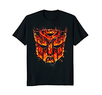 Transformers Flaming Robot Shield Graphic T-Shirt