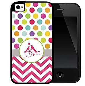 Colorful Polka Dots Design with Pink Chevron Gray Stripe and Pink Love Birds in Center 2-Piece Dual Layer High Impact Black Silicone Cell Phone Case Cover iPhone i5 5s by lolosakes