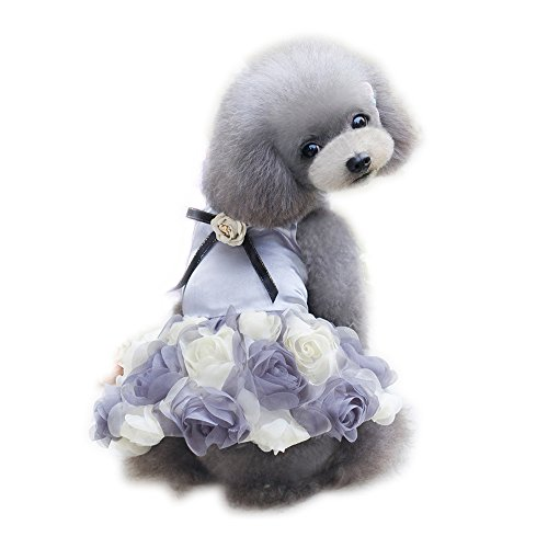 WONDERSKY Pet Small Dog Clothes Party Dress Rose Wedding Satin Puppy Costume Tutu Grey -