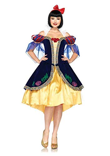 Leg Avenue Costumes 3Pc.Deluxe Snow White Includes Dress, Removable Back Bow and Bow Headband, Blue/Gold, ()