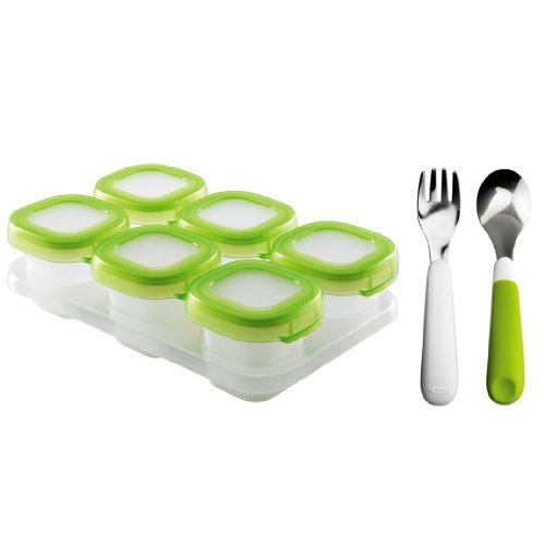 oxo-tot-baby-blocks-freezer-storage-containers-clear-with-fork-and-spoon-set-green