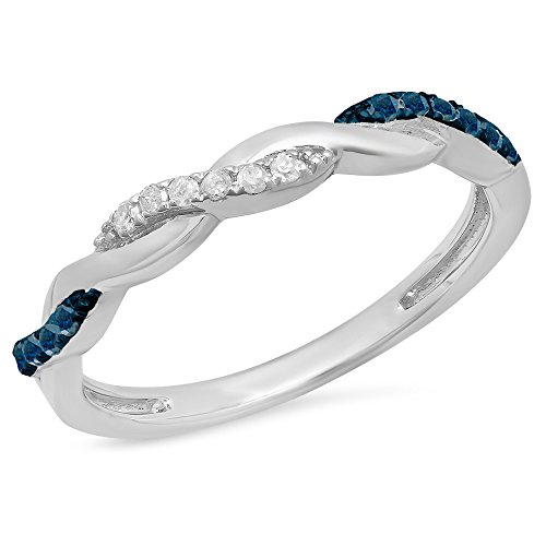 0.15 Carat (ctw) Sterling Silver Round Blue & White Diamond Ladies Swirl Wedding Band (Size 4) by DazzlingRock Collection