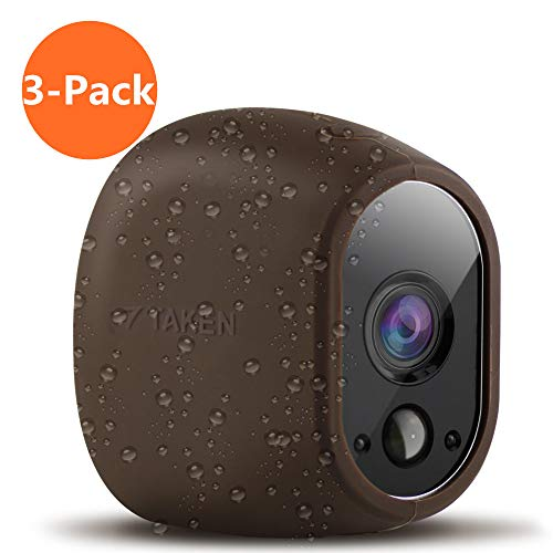 Silicone Skins Compatible for Arlo Security Cameras, Taken Protective Cover Case for Arlo HD Wireless Camera, for Netgear Accessories (3 Pack, Brown)