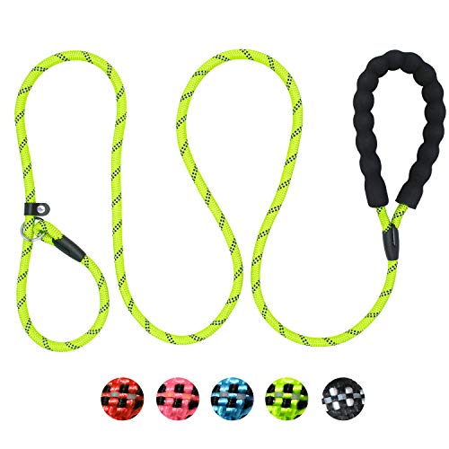 Taglory Dog Slip Leash Rope, Reflective Mountain Climbing Rope Leash, Rolled Pull Dog Lead, fits Small Medium Dogs,6 ft ()