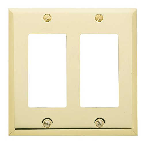 - Baldwin Estate 4741.030.CD Square Beveled Edge Double GFCI Wall Plate in Polished Brass, 4.5