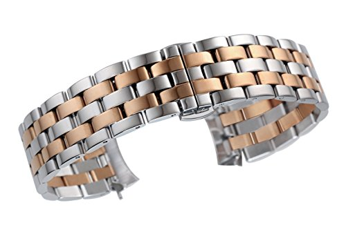 Solid Rose Gold Watch (16mm High-End Curved End Watch Replacement Bands Solid Stainless Steel in Two Tone Silver and Rose Gold)