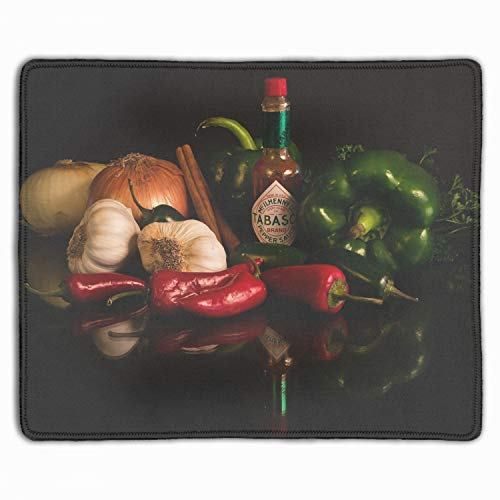 Personalized Rectangle Mouse Pad, Printed Vegetables Onions Garlic Sauce Pepper Greens 11.8