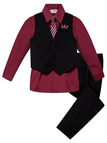 OLIVIA KOO Boys Colored Shirt Pinstripe 4 Piece Pinstriped Vest Set Size Infant-Boy,Burgundy,5]()