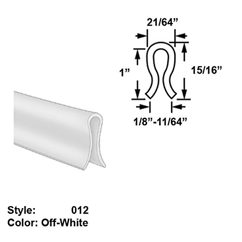 Polyethylene Plastic U-Channel Push-On Trim, Style 012 - Ht. 1'' x Wd. 21/64'' - Off-White - 25 ft long by Gordon Glass Co.