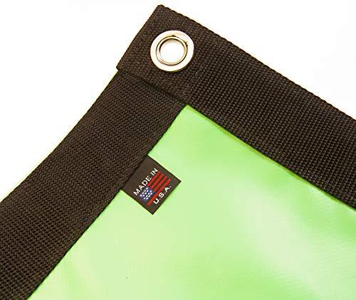 Tarp, Heavy Duty, Lime Green, Waterproof, 18 Oz. Vinyl w/Reinforced Edges (3' X 8' Feet)