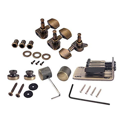 Combo Kits Bronze Saddle Bridge Tuning Pegs Control Knobs Strap Locks Wrenches Screws Washers for 3 String Cigar Box Guitar ()