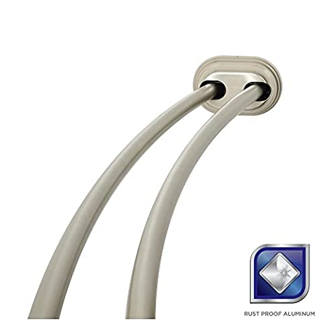 Glacier Bay 72 in. Rustproof Adjustable Double Tension Curved Shower Rod in Brushed Nickel - Brushed Stainless Adjustable Flange