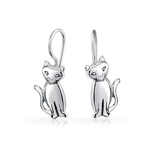Bling Jewelry Siamese Cat Sterling Silver Drop Earrings