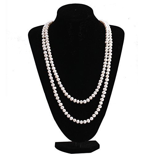 150cm Handmade A-Quality White Freshwater Cultured Pearl Long-Chain