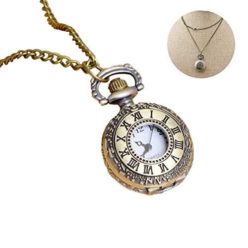 1PC Classic Pocket Watch Vintage Roman Numerals Scale Quartz Pocket Watch With Chain Retro Pendant Necklace Watch Gift For Men&Women(Roman Numerals)