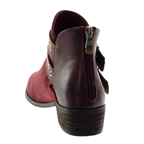 Fashion Style Heel Wine Biker Angkorly bi Boots Women's Shoes Ankle Thong cm Block Metallic Material 5 3 Vintage Booty g8Uq58