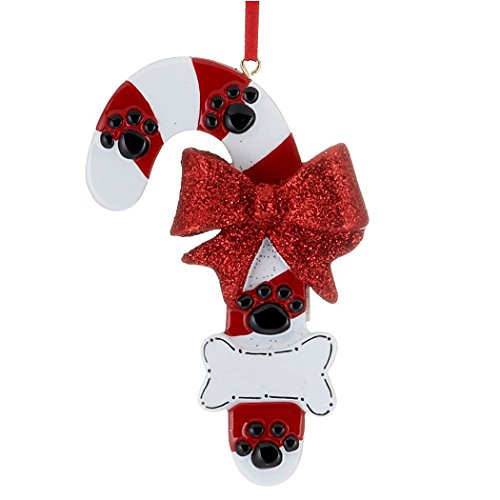 Personalized Dog Candy Cane Christmas Tree Ornament 2019 - Red Treat Glitter Bow Paw Prints Bone Good Neutral Faithful Forever Furever Fluffy Holiday Aww Best - Free Customization ()