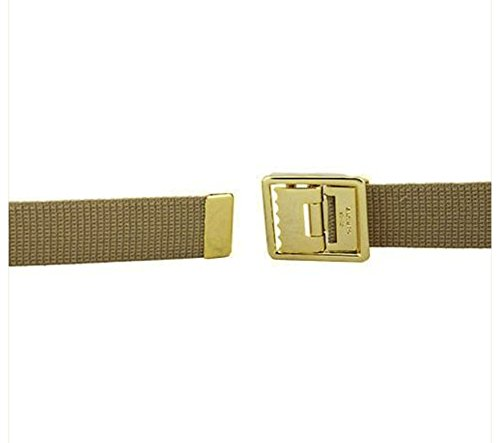 Marine Corps Belt - Vanguard MARINE CORPS BELT KHAKI COTTON W/OPEN FACE 24K GOLD PLATED BUCKLE & TIP