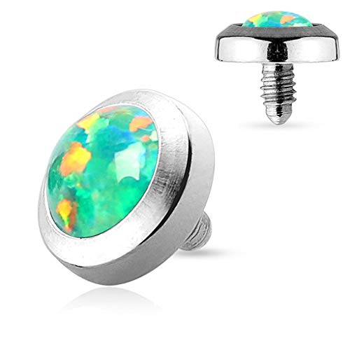 Forbidden Body Jewelry 14g Surgical Steel Synthetic Opal Dermal Top (5mm Green Single)
