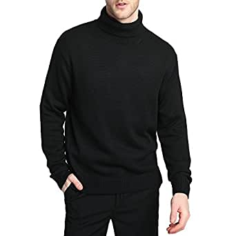 Kallspin Men's Merino Wool Blend Relax Fit Turtle Neck Sweater Pullover