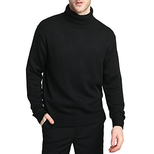 Kallspin Men's Merino Wool Blend Relax Fit Turtle Neck Sweater Pullover (M, Black) ()