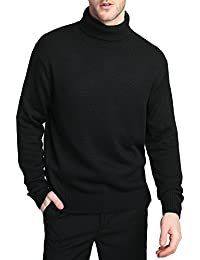 Men's Merino Wool Blend Relax Fit Turtle Neck Sweater Pullover