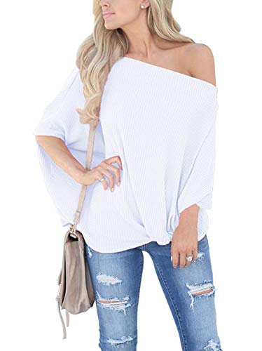 INFITTY Womens Knot Front Off The Shoulder Tops Waffle Knit Batwing Sleeve Loose Pullover Shirts Blouse