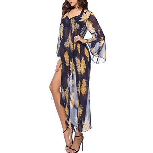 Zhhlinyuan Grandes Robes Conception Boho Robe Manches Spéciale Wrap Vêtements Pour Femmes De Taille Pour Le Noir Et Jaune Femmes Été