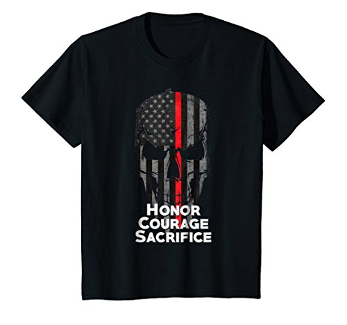 Price comparison product image Kids Thin Red Line Firefighter American Flag Honor T-Shirt 10 Black