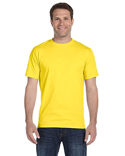 Hanes Mens TAGLESS ComfortSoftCrewneck T-Shirt,Yellow,Large]()