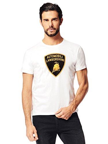 LAMBORGHINI Men's Large Shield T-Shirt, White (XL) (Lamborghini Shirt)