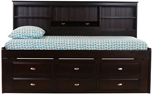- Discovery World Furniture Twin Bookcase Daybed with 6 Drawers Espresso
