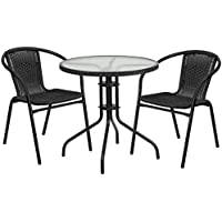 Flash Furniture 28 Round Glass Metal Table with Black Rattan Edging and 2 Black Rattan Stack Chairs