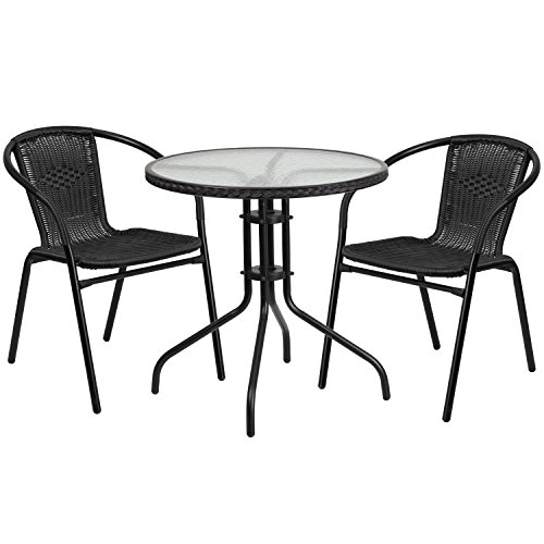 Flash Furniture 28'' Round Glass Metal Table with Black Rattan Edging and 2 Black Rattan Stack Chairs (Glass Bistro Black Table)