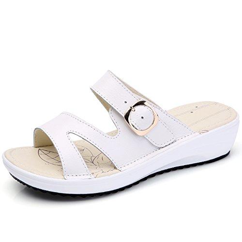 été 36 EU lumière antidérapant mou étudiant 3 UK Femme Tongs US 5 extérieur AWXJX Similicuir 6 Chaussures White décontracté fond pente Jaune q8Taw8Ot