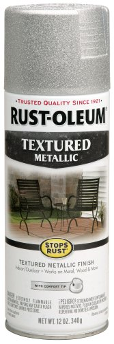 Rust-Oleum 251053 12-Ounce Spray Paint, Textured Silver Meta