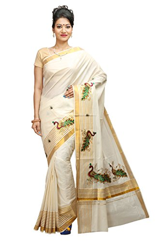 JISB Women Kerala Kasavu zari stripe saree with Peacock (Stripe Saree)