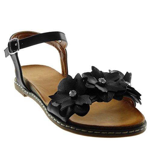 Angkorly Damen Schuhe Sandalen - Knöchelriemen - Blumen - Strass - Fertig Steppnähte Blockabsatz 3 cm Schwarz