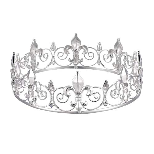 SNOWH Full King Crown Silver, Metal Tiaras and Crowns for Men Birthday Crown Prom Party Hats Costume Hair Accessories (Prom Crowns Men)