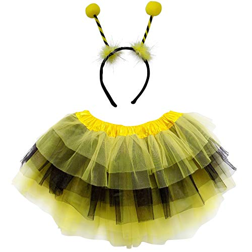 So Sydney Kids Teen Adult Plus 2-3 Pc Tutu Skirt, Ears, Tail Headband Costume Halloween Outfit (M (Kid Size), Bee Yellow & Black)