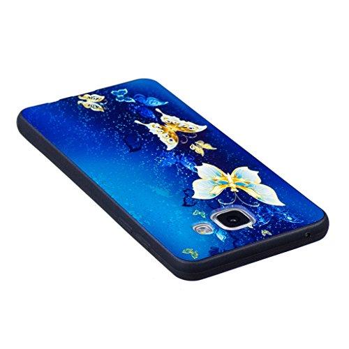 Trumpshop Smartphone Carcasa Funda Protección para Samsung Galaxy A3 (2016) SM-A310 [Panda linda] Serie Talla Ultra Suave Flexibles TPU Silicona Resistente a arañazos Caja Protectora Mariposa Azul