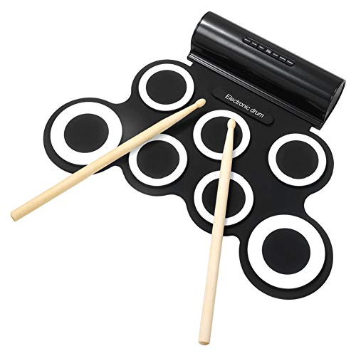 Electronic Drum Set Roll Up Drum Pads IWORD Midi Drum Kit With Headphone Jack Portable Practice Drum Kit Drum Pedals Drum Sticks 10 Hours Playtime USB Charge Built-in Dual Speakers Great Gift for Kids