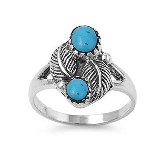 15mm Southwest Vintage Feather Simulated TURQUOISE Sterling Silver Ring size 6-10