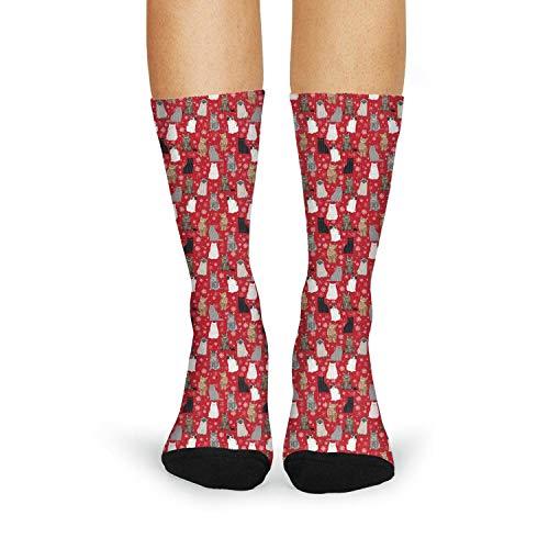LIXG Snow-funny-Cat-Snowflake-Holiday-Feline-Kitten-Kitty-Pet- Casual Print Socks for Women