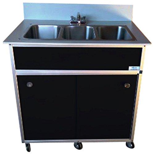 Monsam PSE-2003R Three Deep Compartment Portable Sink, Black