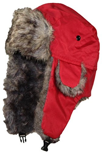 Best Winter Hats Solid Color Nylon Russian/Trapper W/Soft Faux Fur Hat(One Size) - Red