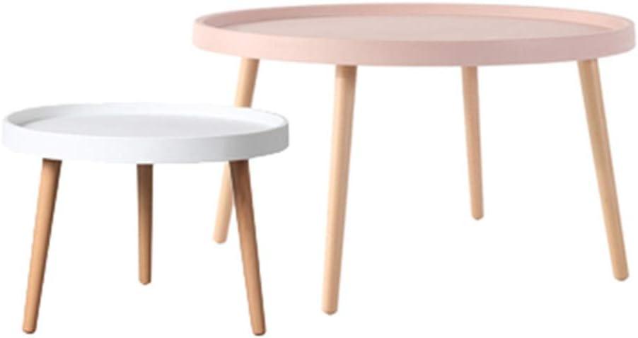 Goedkoop GWDJ Bijzettafel, salontafel, nachtkastje, 2-delige set, ronde bijzettafels met poten van massief grenenhout voor de woonkamer, Nest of Tables, roze/wit Style4. OLDbsKS