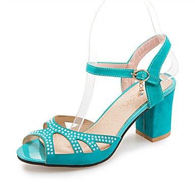 LvYuan Tacón Robusto-Confort Innovador Zapatos del club-Sandalias-Boda Vestido Informal-Vellón Materiales Personalizados-Negro Azul Rojo Red